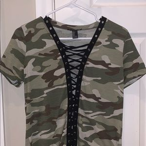 Forever 21 Camo Lace-Up T-Shirt
